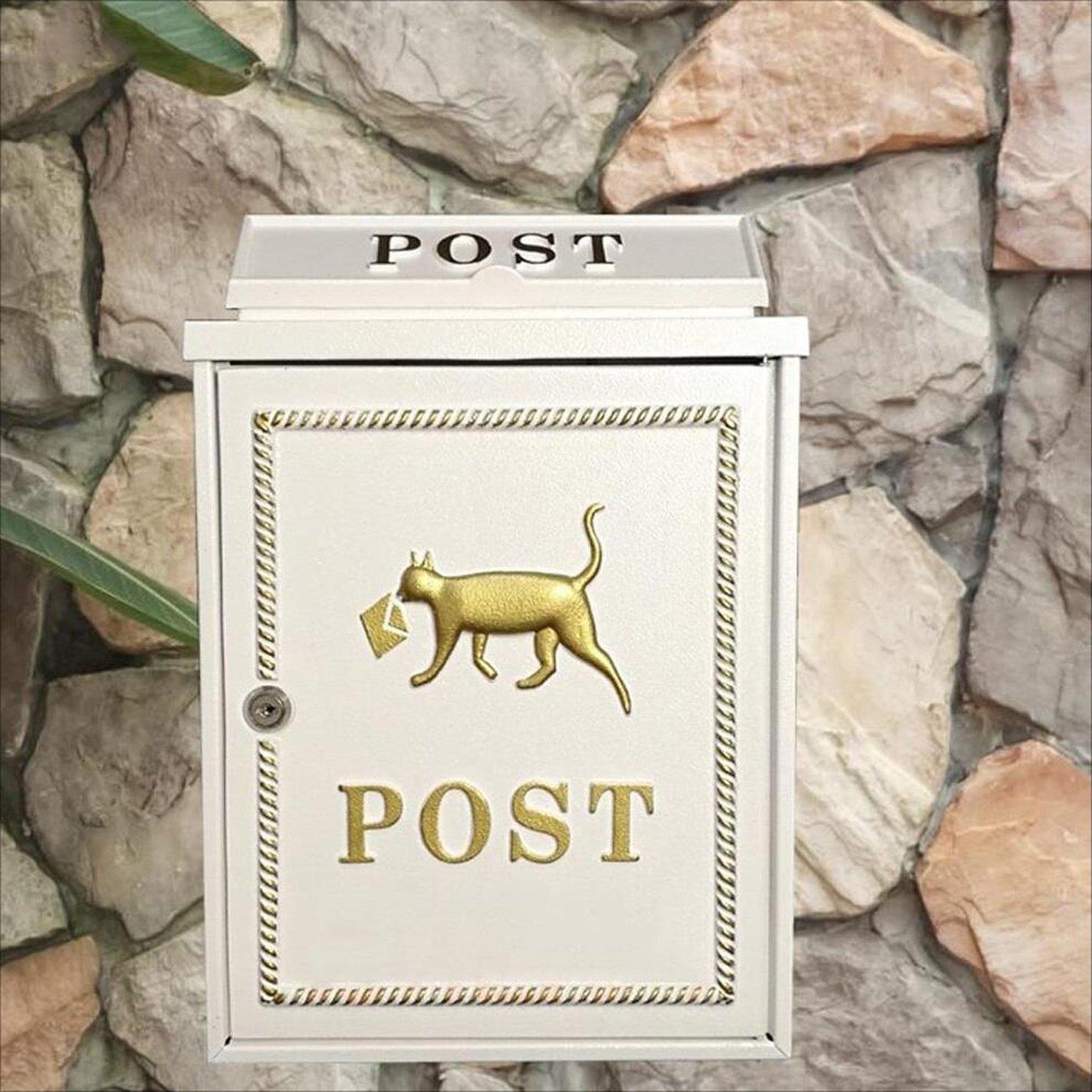 LRW ヨーロッパの郵便受けの壁掛けレターボックス、セルメールボックス、メールボックス、ヴィラメールボックス、壁掛け装飾、白   B07HP572JX