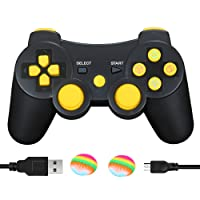AIRUIDE PS3 Wireless Controller, Double Shock SIXAXIS Gamepad Remote for PlayStation 3, Charging Cable and 2 Thumb Grip Caps Included (Yellow)