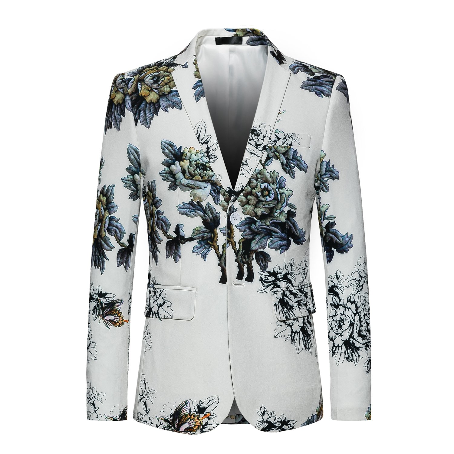 UNINUKOO Mens White Floral Elegant Sport Coat for Casual Occasion