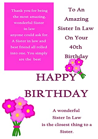 Sister In Law 40th Birthday Card With Removable Laminate Amazon