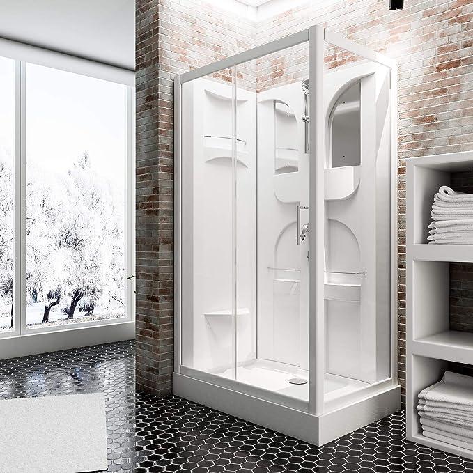 Schulte EP19195 Cabina de ducha completa, Blanco, 120 x 80 cm ...