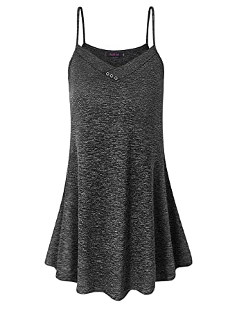 162a0a33b93037 Sufiya Casual Womens V Neck Sleeveless Tunic Tops Flowy Tank Tops at ...