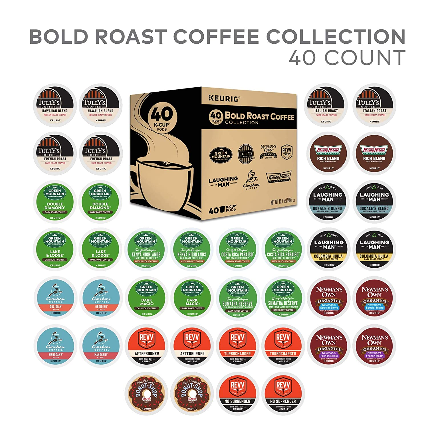 K-Cup Bold Variety Sampler, Keurig Single-Serve Coffee, 40 Count