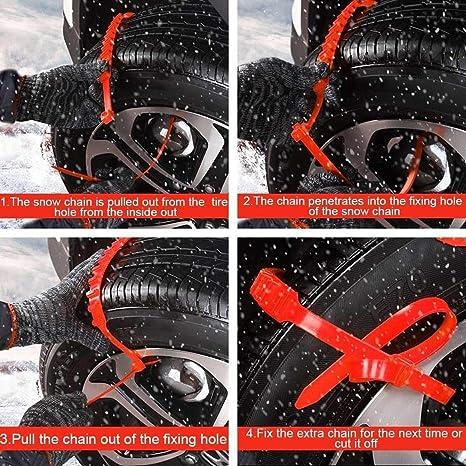 Fezz 10x Auto Schneeketten Set Universal Schneereifenketten Rad Kette Winter Anti Rutsch Für Auto Sicherheit Eis Schlamm Außen Autocross Kunststoff Einstellbar Auto