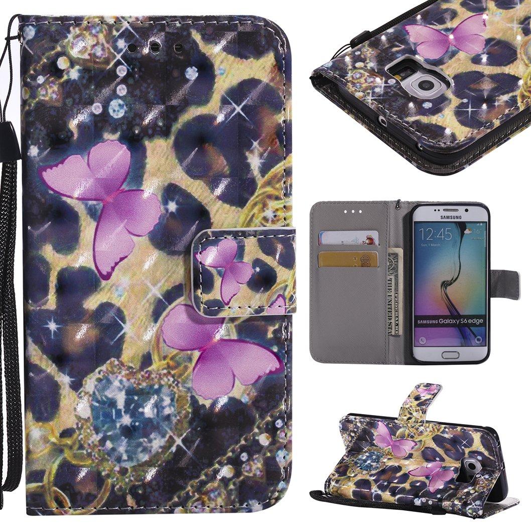 Wanxideng Coque Portefeuille pour Samsung Galaxy S5, Housse en Cuir PU avec Dessin Coloré en 3D - Étui à Rabat avec Support & Porte-Cartes & Lanière - Flip Wallet Case Cover - Papillon Noir