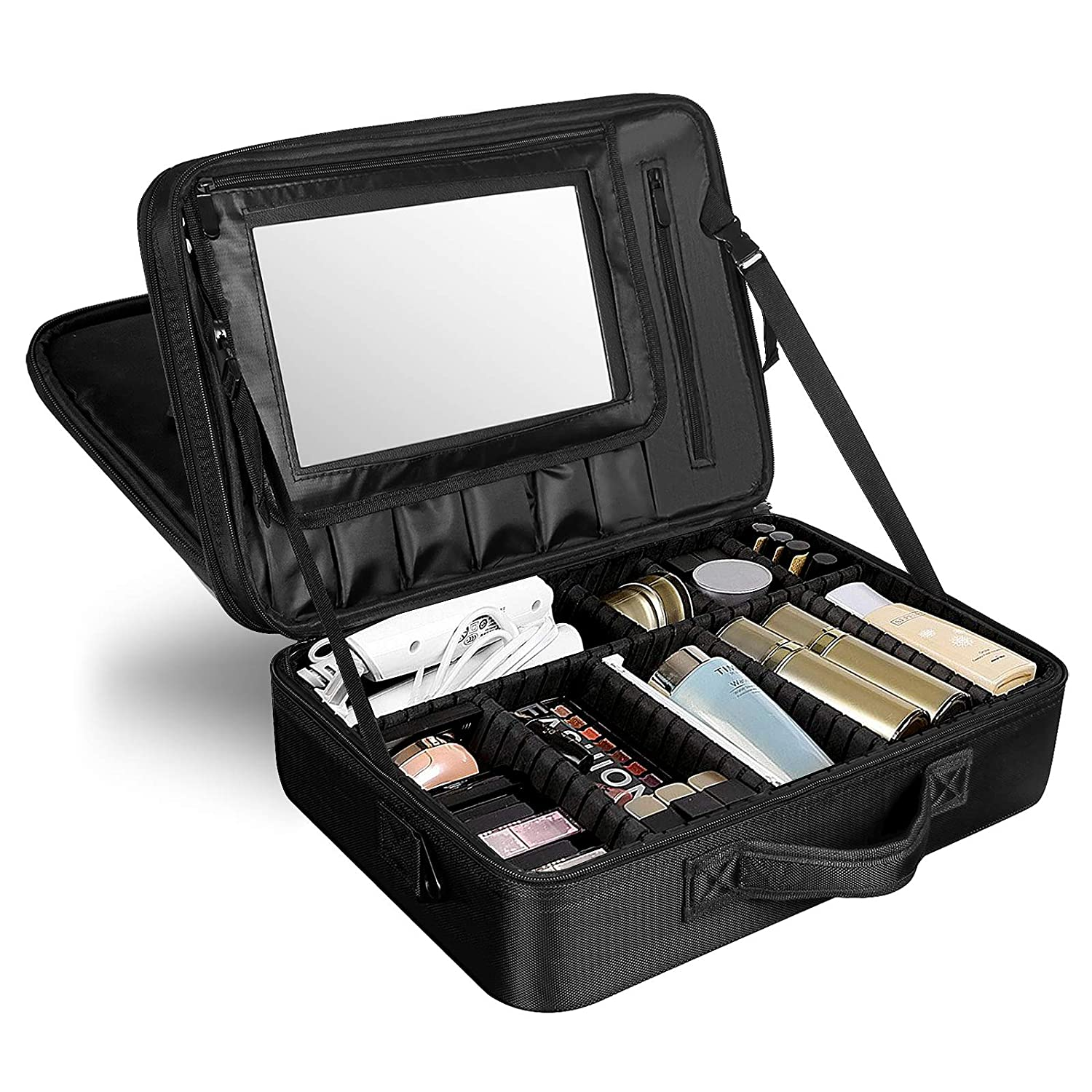 "Solofish 17.1"" Makeup Train Case Triple Layer Professional Cosmetic and Beauty Tools Storage Box 17.1"" Extra Large Make Up Brush And Beauty Artist Organizer with Removable HD Mirror"