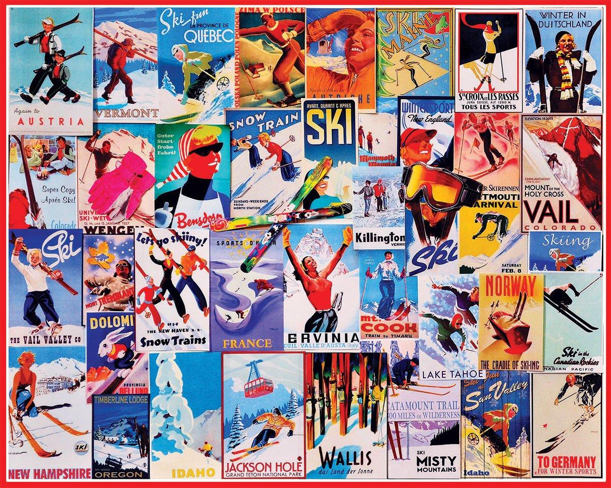 拼圖滑雪海報