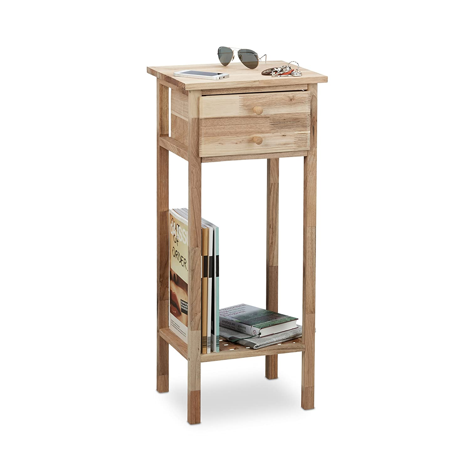 Relaxdays Walnut Side Table with Drawer, 2 Shelves, Telephone Table, Tall Wooden Table, HxWxD: 80 x 35 x 30 cm, Natural 10021329