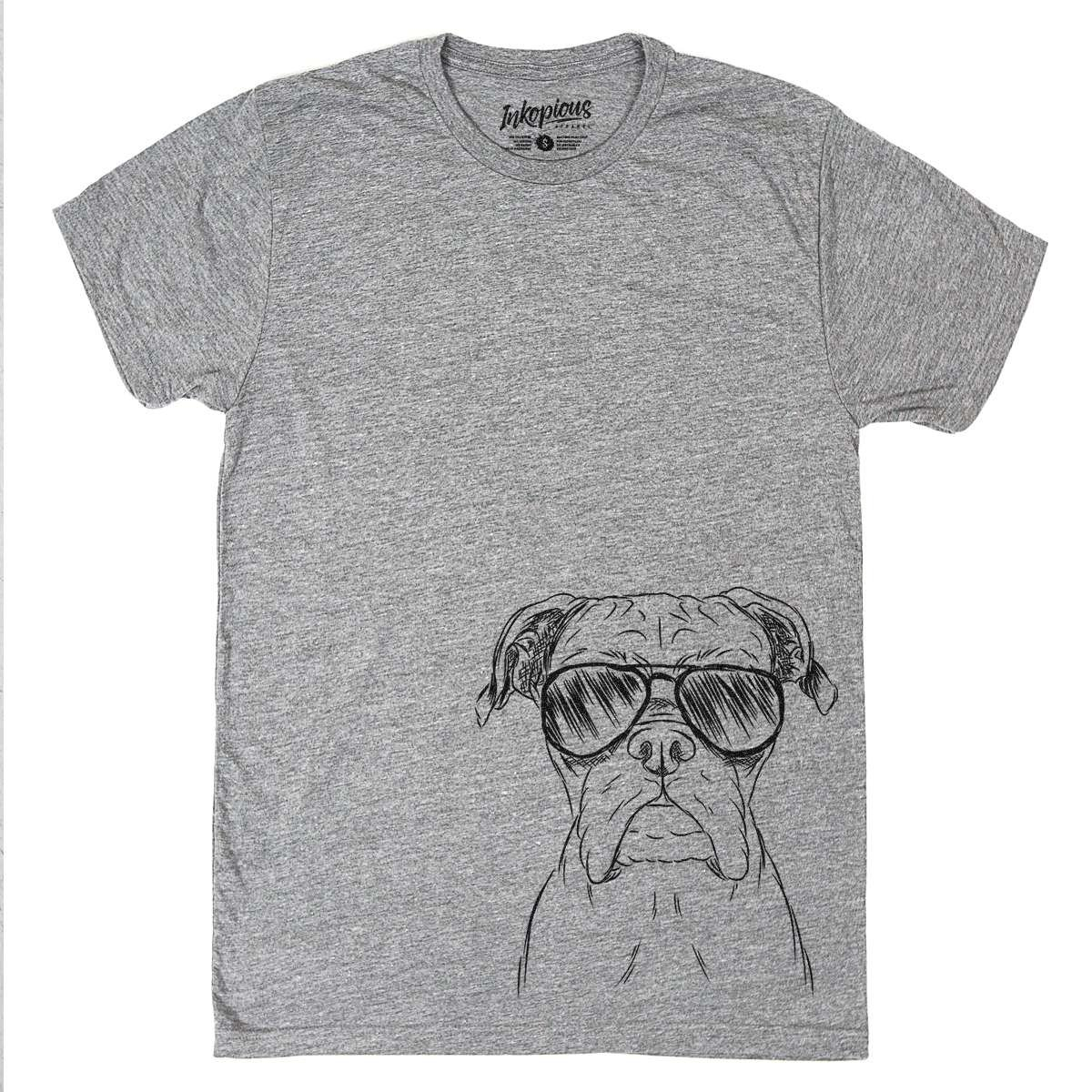 Inkopious Axel The Boxer Dog Men's/Women's Triblend T-Shirt Unisex Crewneck Xtra Large Grey