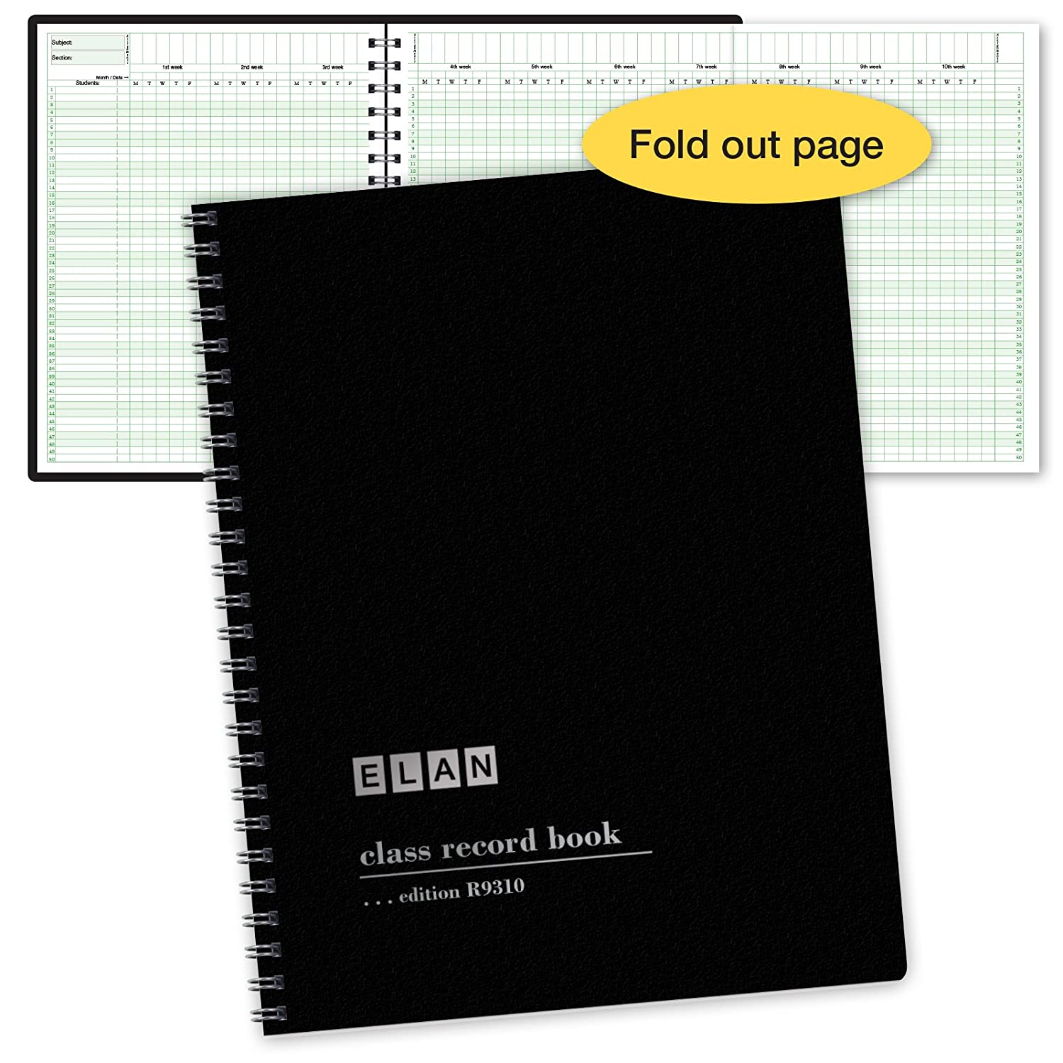 Class Record Book for up to 10 Weeks. 50 Names. Extra Large Grade Recording Squares. (R9310) ELAN