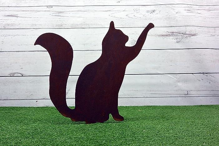 Cortenstahl Garten silhouette aus cortenstahl garten katze mit erhobenen pfote amazon