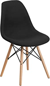 Flash Furniture Elon Series Genoa Black Fabric Chair with Wooden Legs