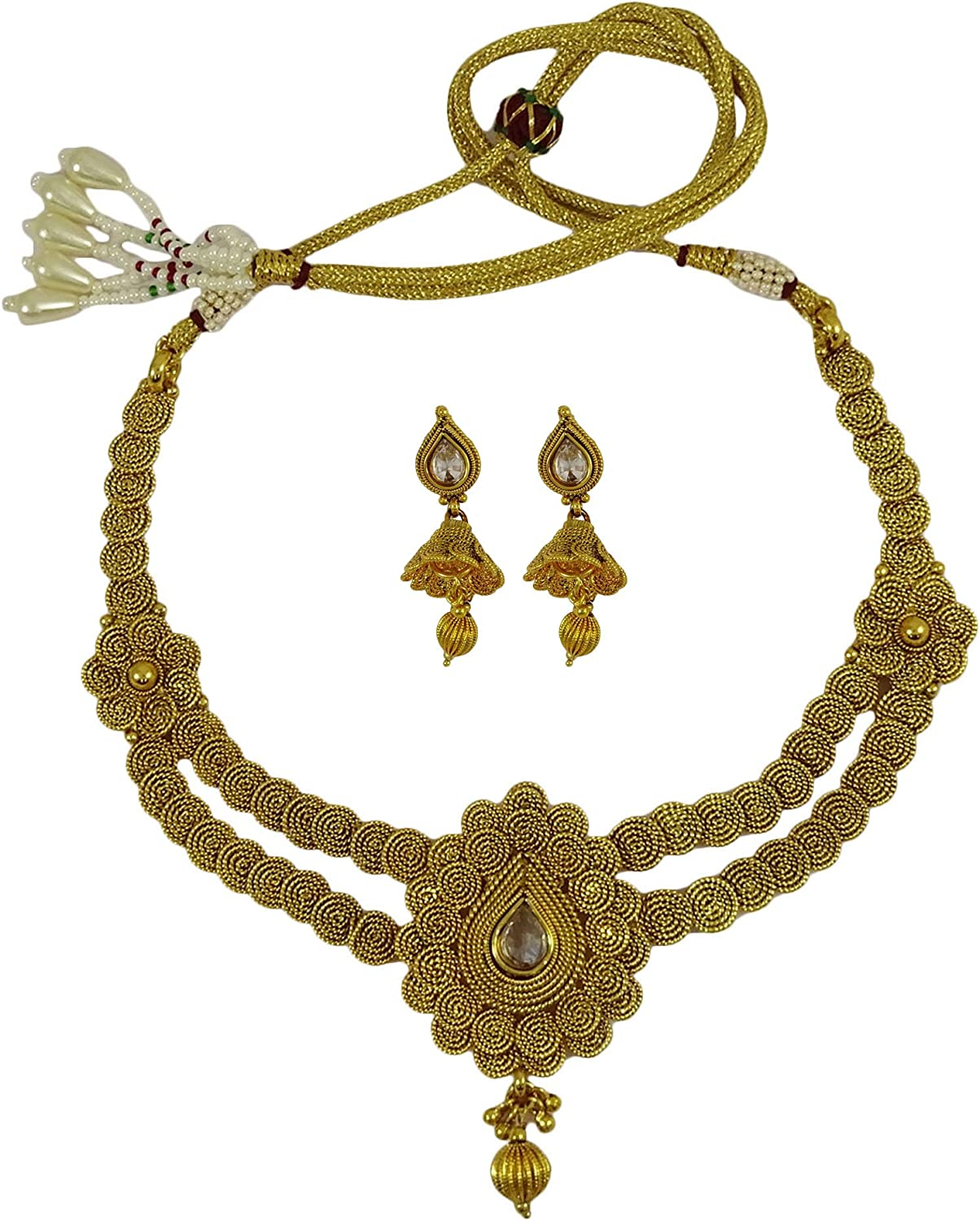 Matra Goldtone Traditional Designer South Indian Style Necklace Set Bollywood Jewelry