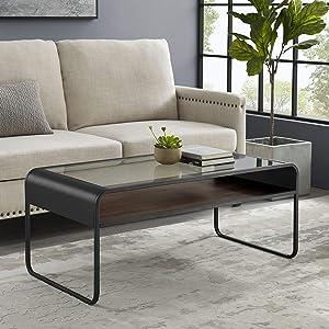 Walker Edison Curved Metal Frame Wood and Glass Rectangle Coffee Table Living Room Ottoman Storage Shelf, 42 Inch, Grey Wash/Dark Walnut
