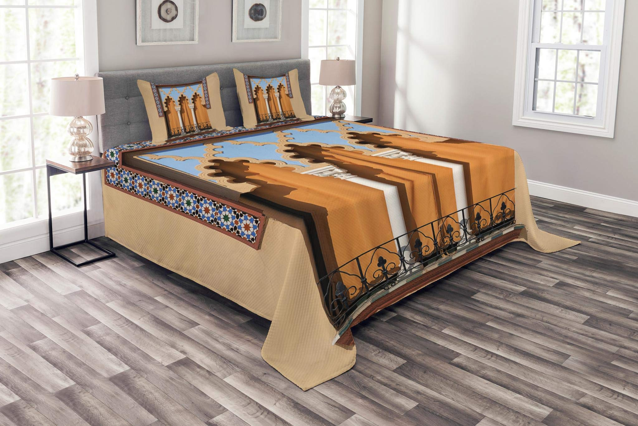 Lunarable Arabian Bedspread Set Queen Size, Old Windows in Arabian Style at Cordoba Spain Background Balconies City, Decorative Quilted 3 Piece Coverlet Set with 2 Pillow Shams, Sand Brown Pale Blue