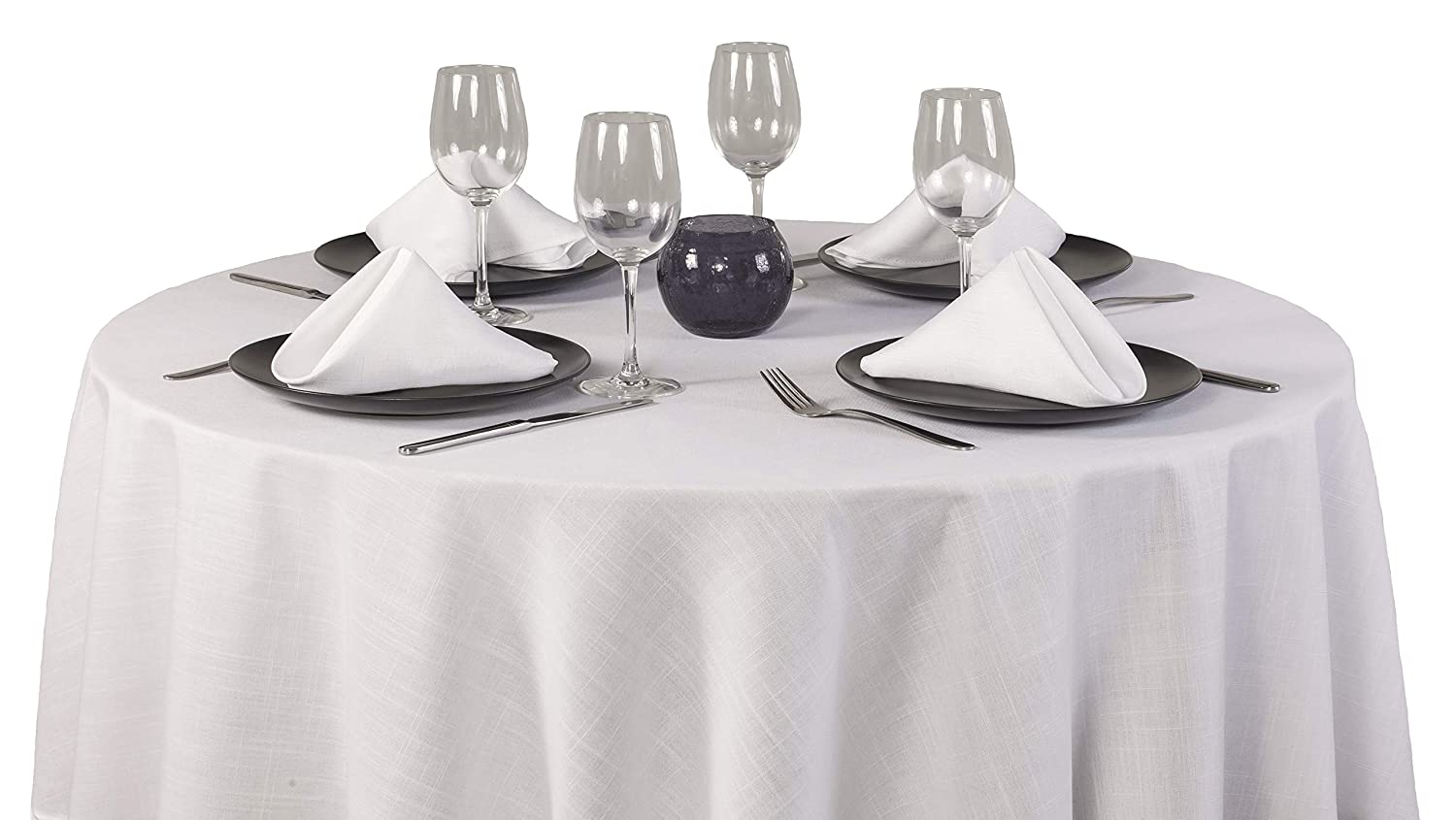 Red Nappe ronde 100//% polyester//polyester 69in Diameter Tablecloth And 4 Napkins Casual Dining Essentials