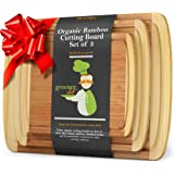 Wood Bamboo Cutting Board – Set of 3 – 3-PIECE PREMIUM VALUE PACK – 1 XL Extra Large, 1 Medium, 1 Small Wooden Chopping…