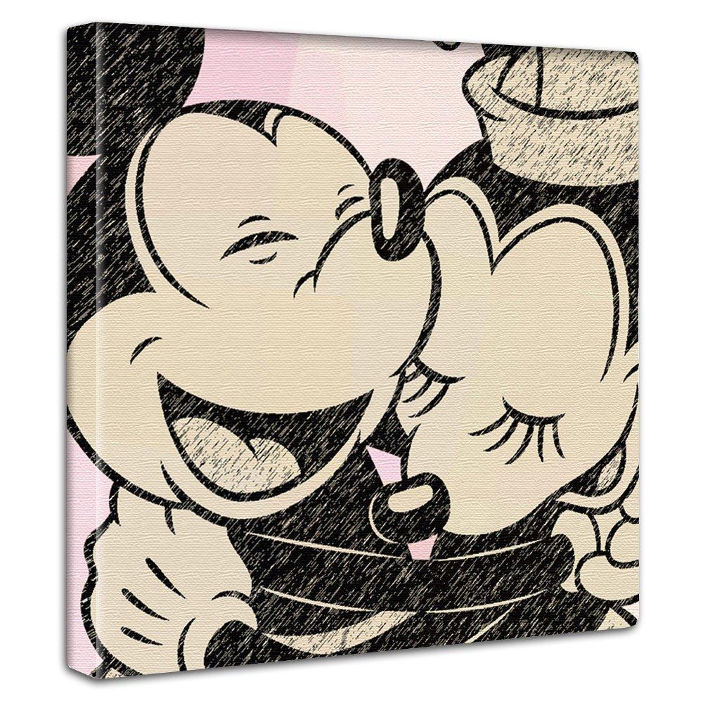 【アートデリ】ミッキーマウス&ミニーマウスのファブリックボード dsn-0223-L Lサイズ B00W9OP4OWLサイズ(57×57cm)