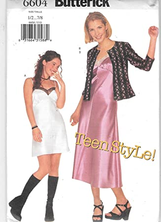 Amazon Butterick 6604 Teen Dress And Cardigan Sewing Pattern