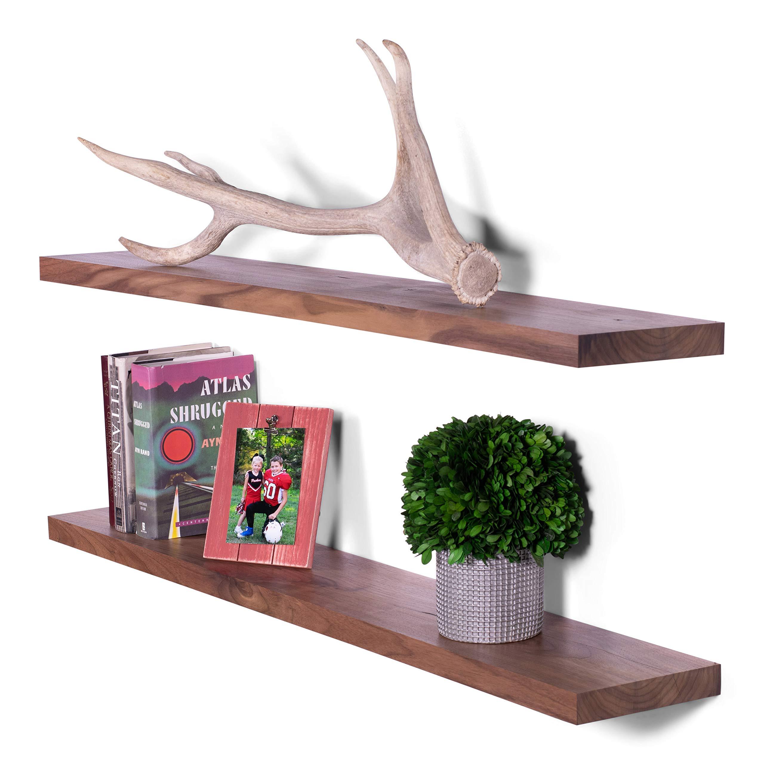 DAKODA LOVE Solid Walnut Wood Floating Shelves, USA Handmade, Clear Coat Finish, 100% Countersunk Hidden Floating Shelf Brackets (Set of 2) (48'' Long, 8'' Deep)