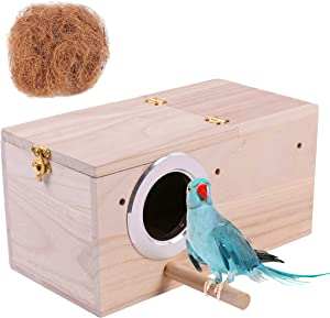 Hand Crafted Parakeet Nest Box; Budgie Bird House with Natural Coconut Fiber Nesting Material; Natural Wood Breeding Box for Cockatiel, Lovebirds, Parrotlets and Small to Medium Birds