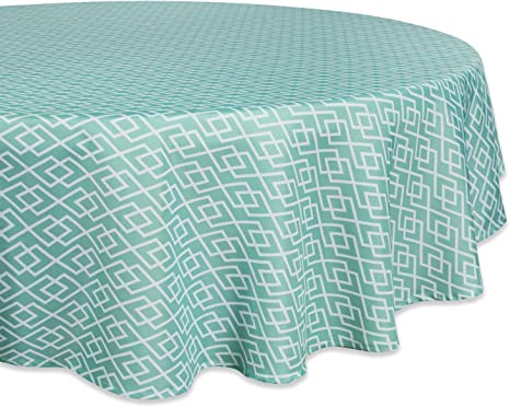 Amazon Com Dii Camz36773 100 Polyester Spill Proof Machine Washable Tablecloth For Outdoor Use 60 Round Aqua Diamond Seats 4 People Home Kitchen