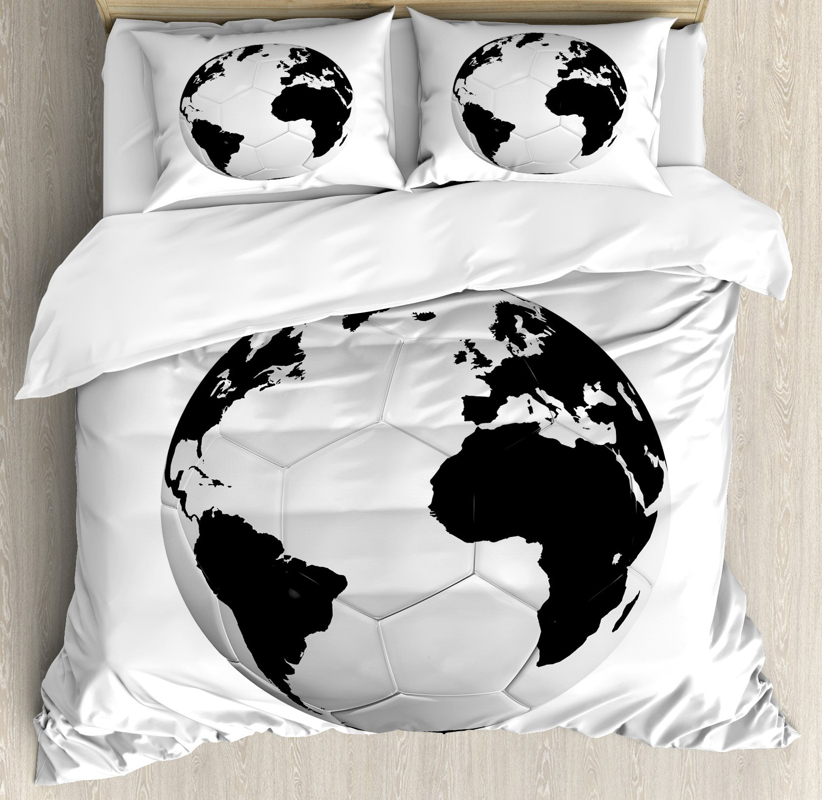 Sports Decor King Size Duvet Cover Set by Ambesonne, Soccer Ball with World Map Football Cup 2010 Entertaining Professional Game, Decorative 3 Piece Bedding Set with 2 Pillow Shams