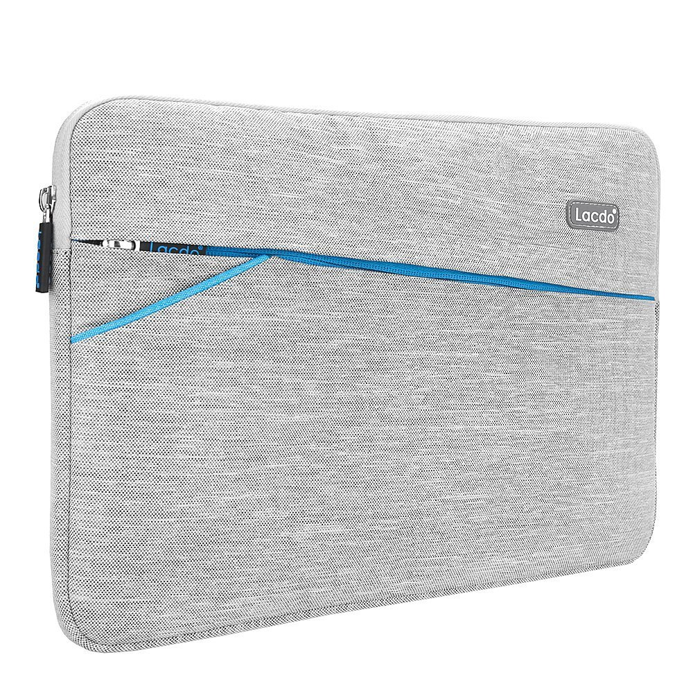 Lacdo 11-11.6 Inch Waterproof Fabric Laptop Sleeve Bag for Apple New Macbook 12 Inch/MacBook Air 11.6/Surface Pro Surface Pro 5, 4, 3/Asus Dell HP Samsung Acer Chromebook Tablet Case, Gray B1A15C1