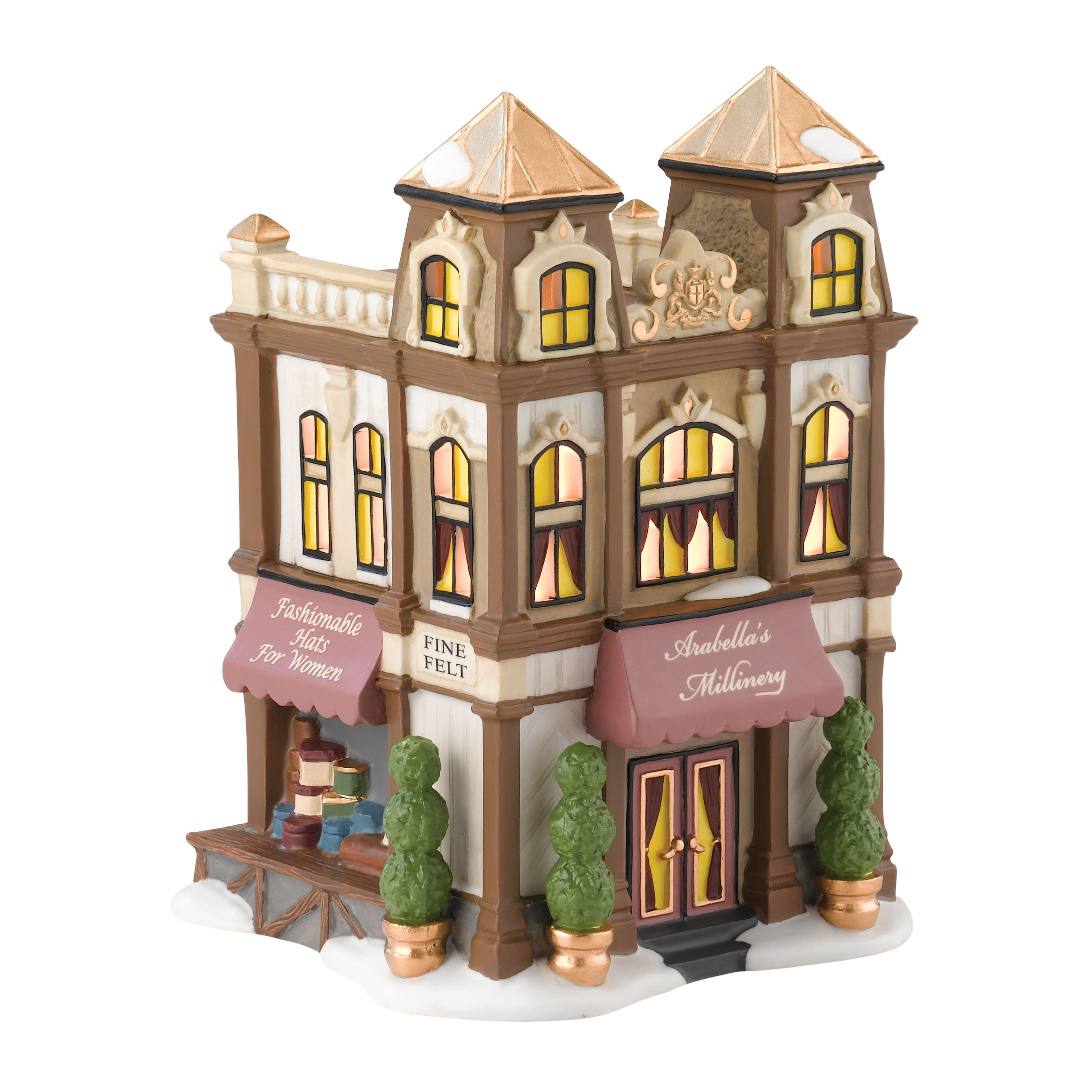 Department 56 Dickens' Village Arabella's Millinery Lit House, 6.69 inch