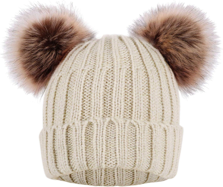 Baby Fur Pom pom Beanie Three Pom pom Baby Hat Black Beanie Hat with Removable  Real Genuine Raccoon fur Pom pom.