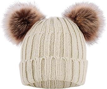 handmade. 100/% Pure Merino Wool Large Pom pom Beanie Green with large Real Genuine Raccoon Fur Pom Pom and cozy fleece lining
