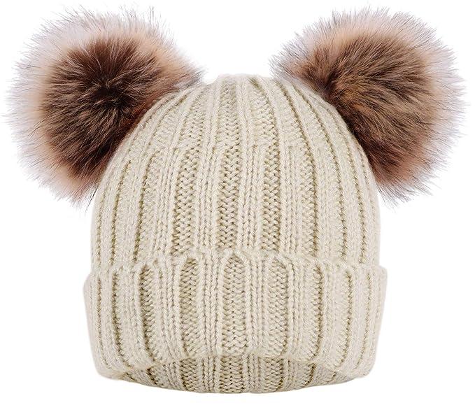 KEA KEA Women s Winter Chunky Knit Beanie Hat with Double Faux Fur Pom Pom  Ears 58caa7599e