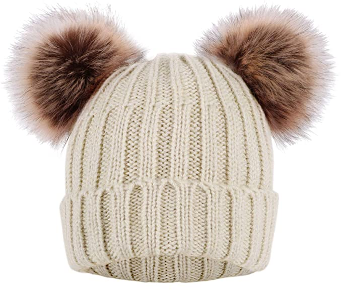 84f3d0b61 KEA KEA Women's Winter Knitted Faux Fur Double Pom Pom Beanie Hat w/Lush  Lining