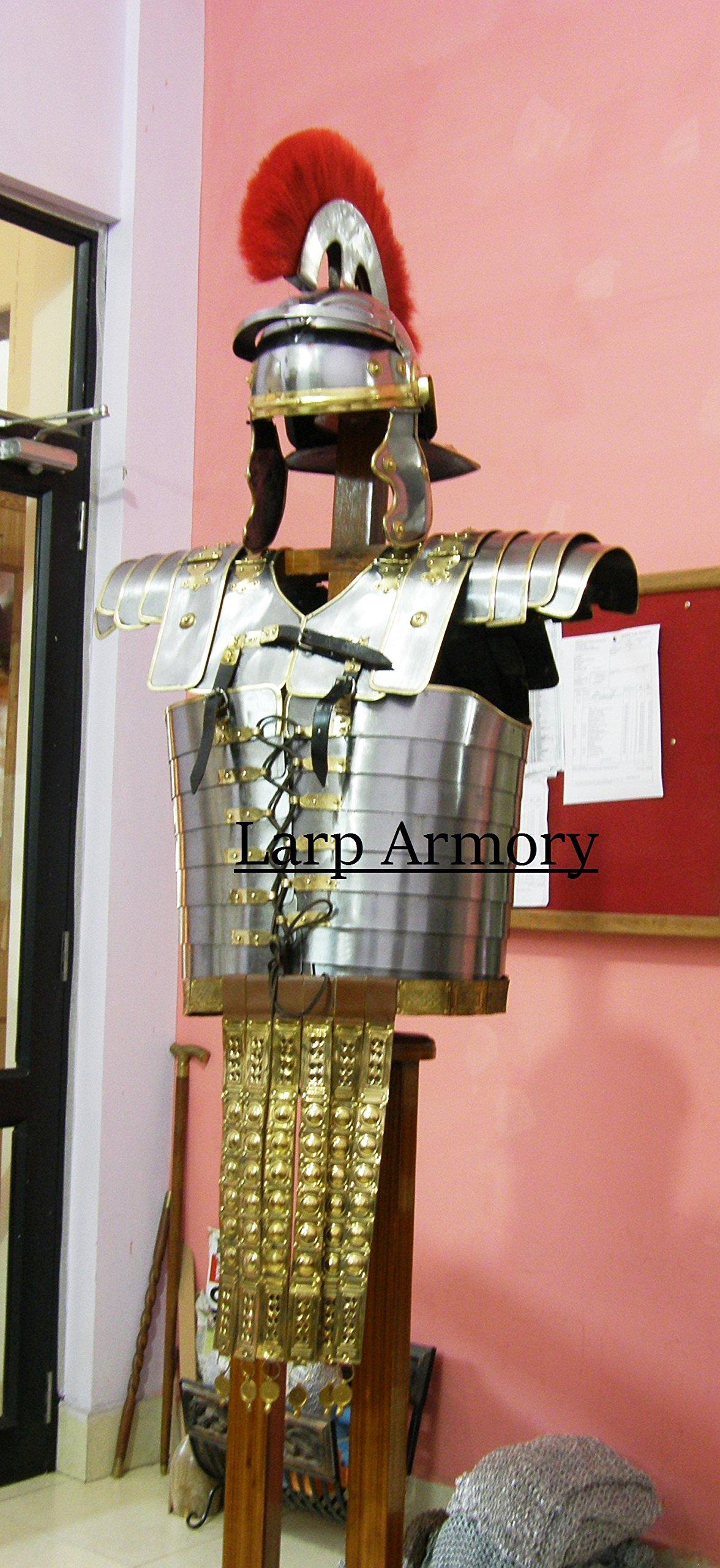 Roman Lorica Segmentata Armor with attached Roman Cingulum Belt and Centurion Helmet