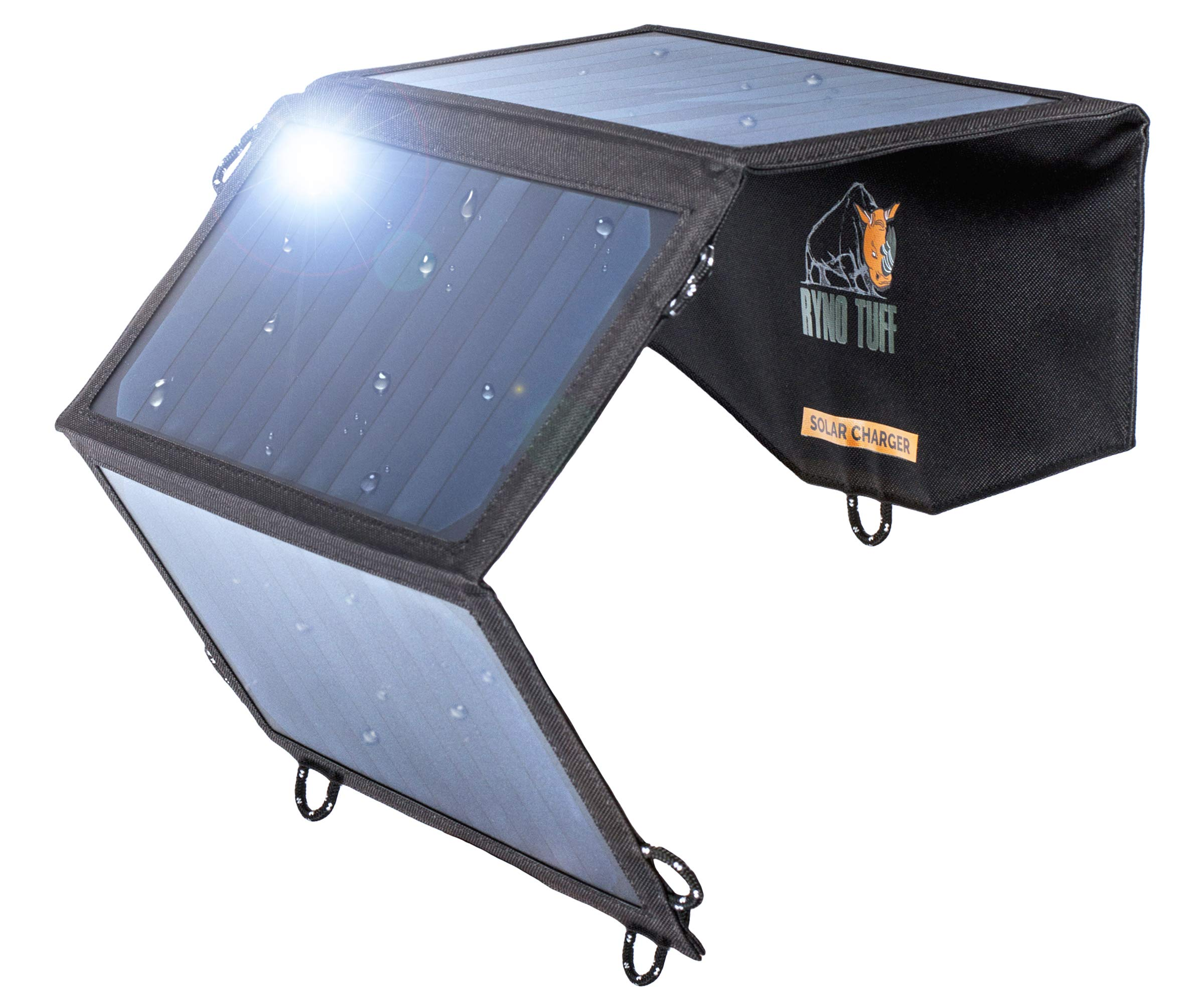 Ryno-Tuff Portable Solar Charger for Camping - 21W Foldable Solar Panel Charger 2 USB Ports - Waterproof & Durable, Compatible with iPhone, iPad, Galaxy, LG, Nexus, Battery Packs, All USB Devices by Ryno Tuff