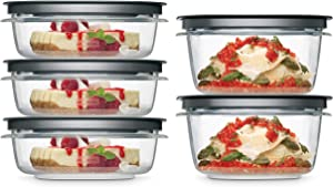 Rubbermaid 2108396 Meal Prep Premier Food Storage Container, 10 Piece Set, Grey