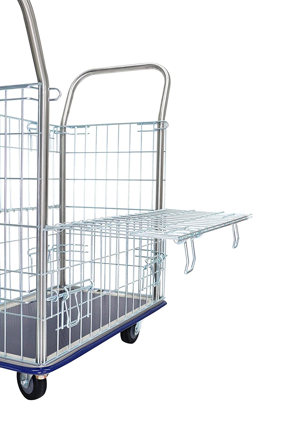 Wire Cage Truck T-EQUIP Mesh Trolley GW-113 silver // blue WxDxH: 82 x 48,5 x 100 cm Storage Cart Crate load capacity: 220 kg chrome-plated Platform Dolly