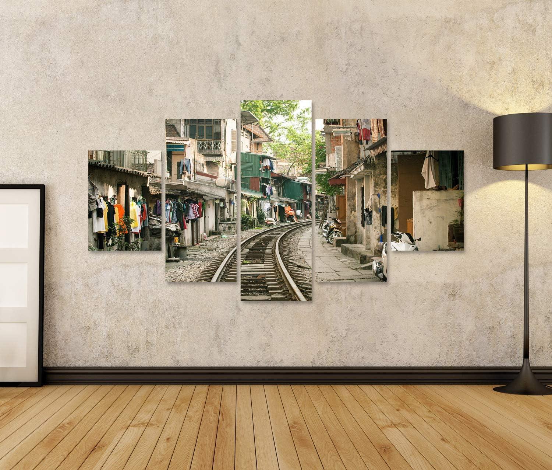 islandburner Tableau Tableaux Maisons locales pr/ès de la Voie ferr/ée en activit/é dans la Vieille Ville de Hanoi Vietnam Cadre sur Toile Impression Photo Affiches