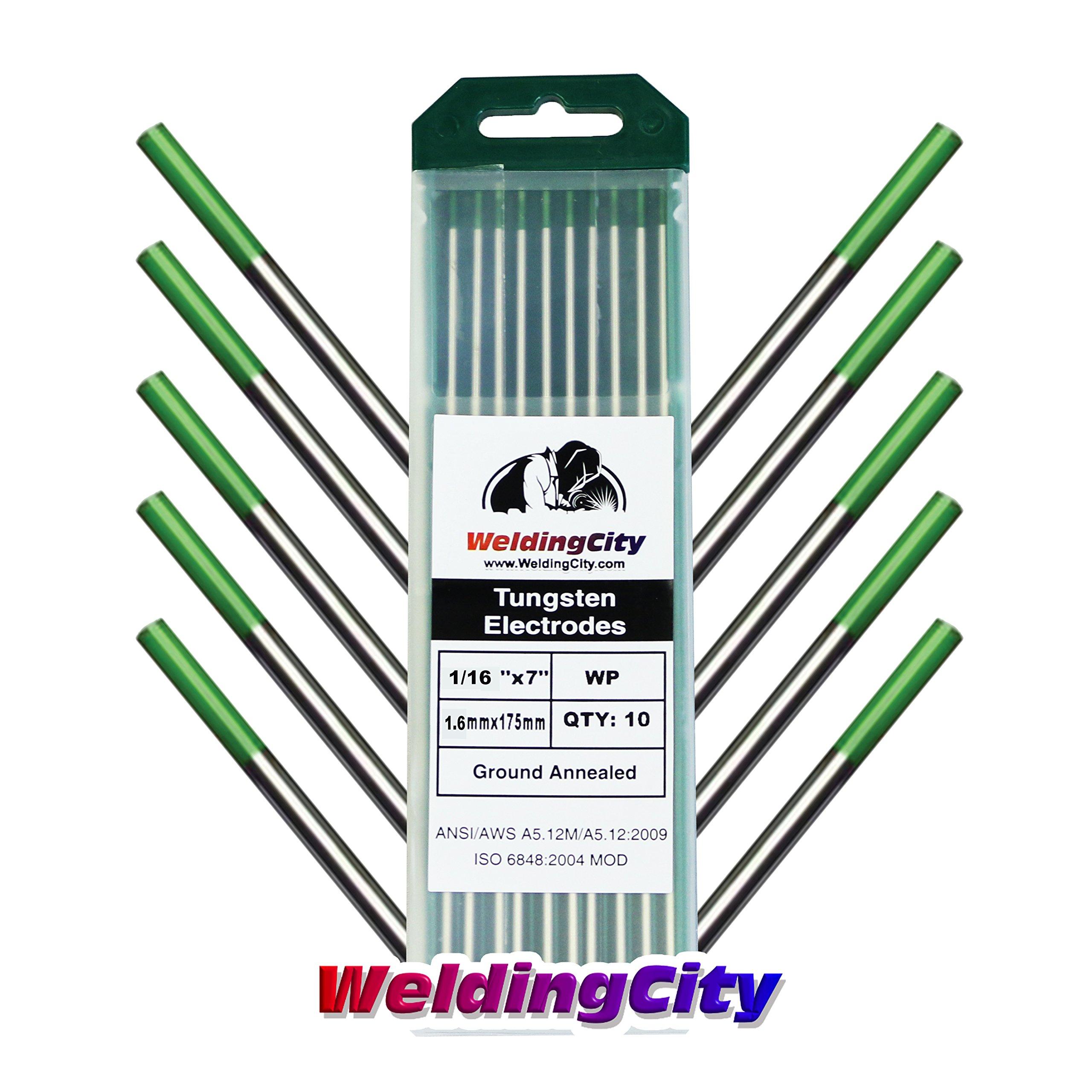 WeldingCity 10-pk Premium TIG Welding Tungsten Electrode Rod Pure (Green, EWP)