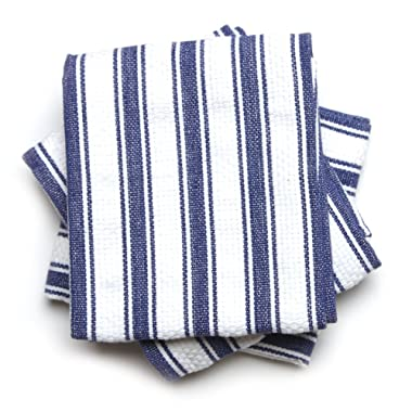 Mahogany Basket Weave Kitchen Towels with Color Stripes, Set of 3, Navy Blue