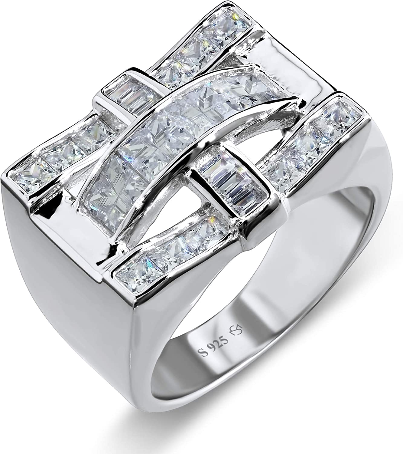 Sterling Manufacturers [2-5 Days Delivery] Men's .925 Sterling Silver Criss Cross Ring with Fancy Cubic Zirconia (CZ) Channel and Invisible Set Stones, Platinum Plated Eye Catching Design.