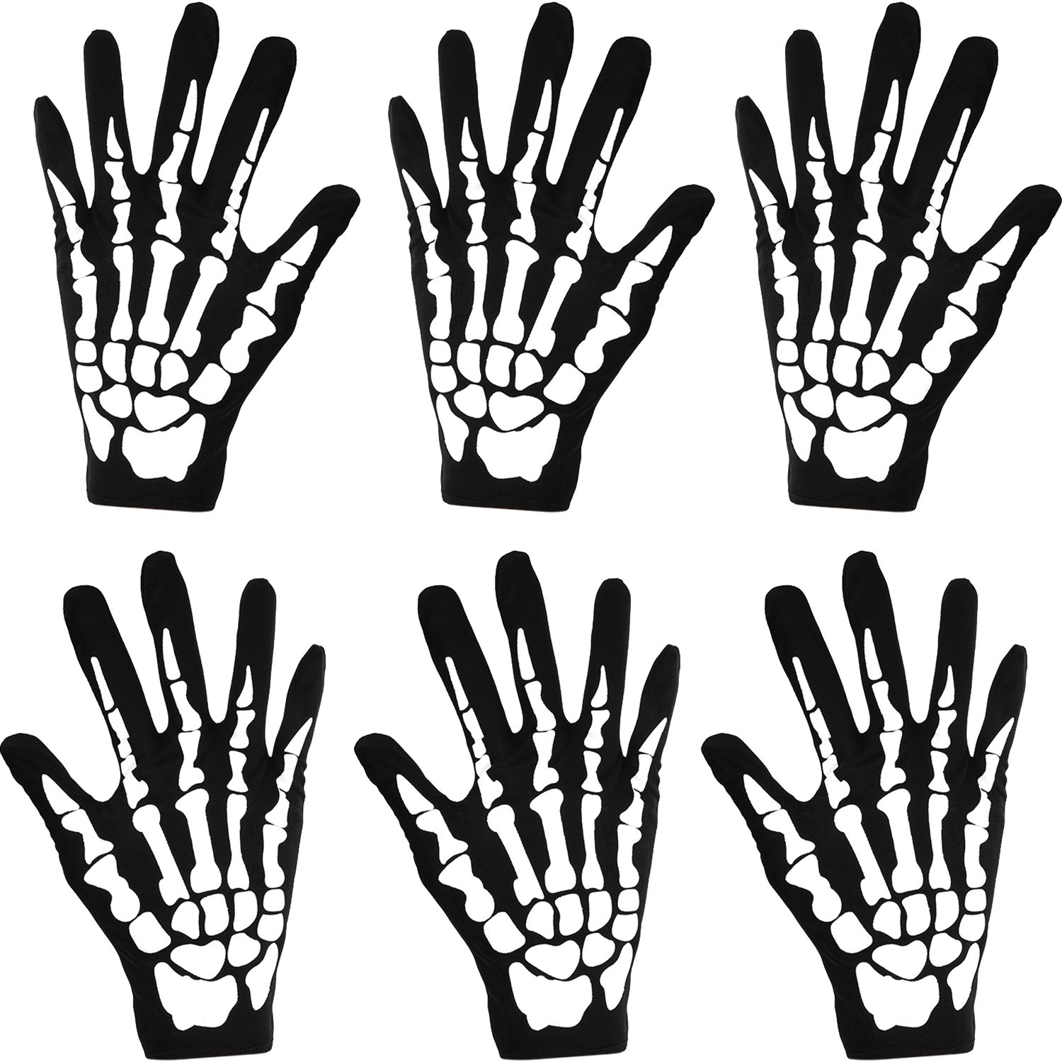 3 Pair Halloween Full Finger Gloves Fancy Dress Accessory for Halloween Party