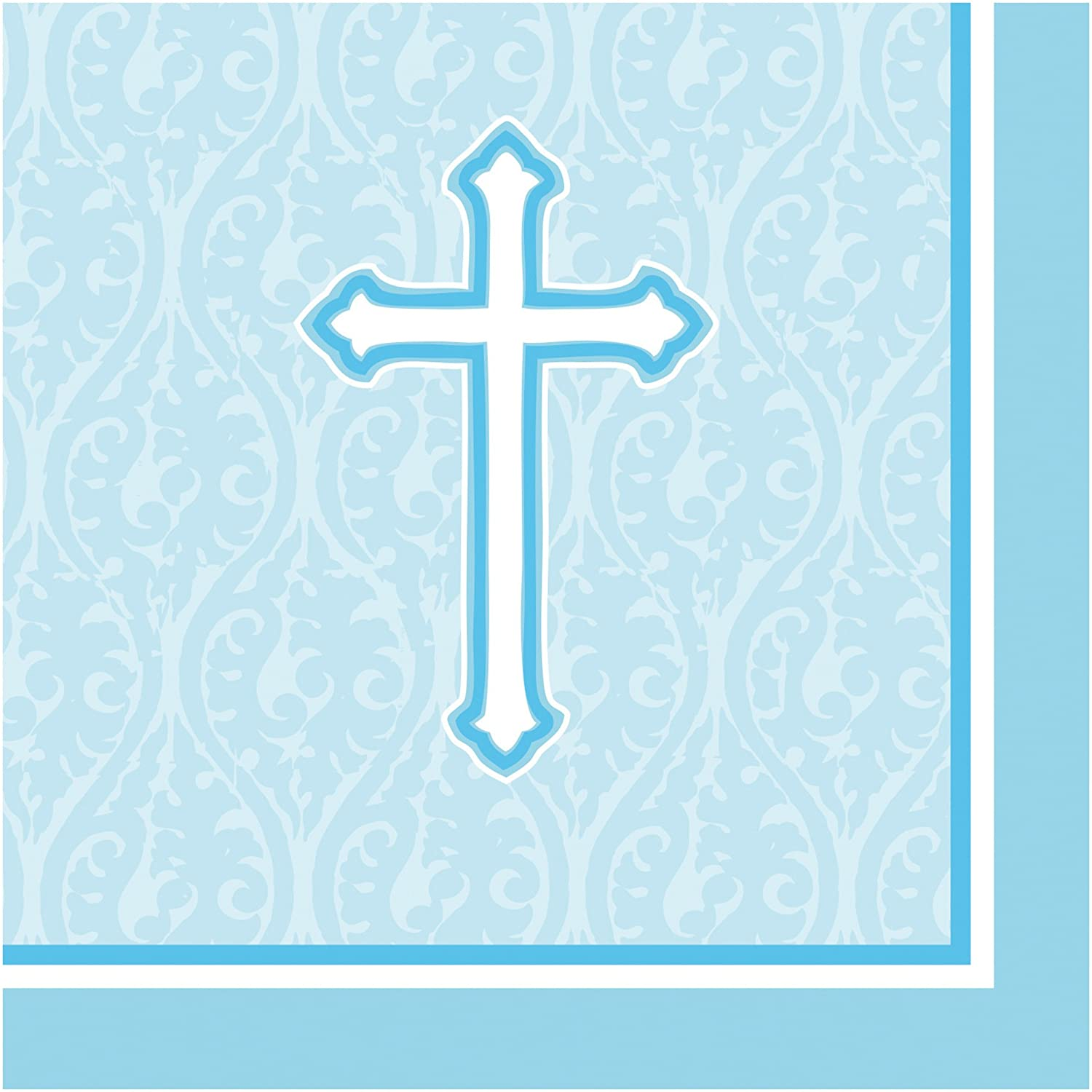 Creative Converting 18 Count Beverage Napkins, Faith Blue