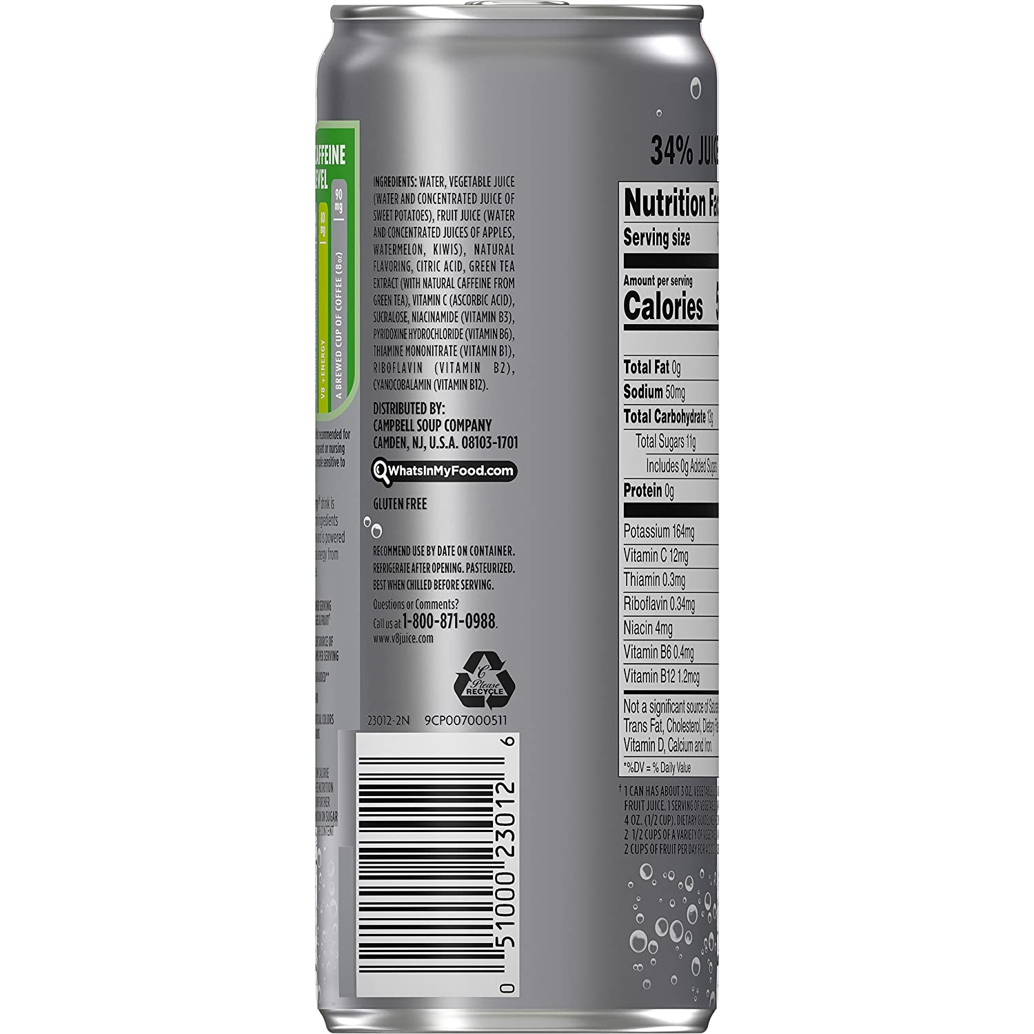Amazon.com : V8 Energy, Sparkling Juice Drink with Green Tea, Kiwi ...