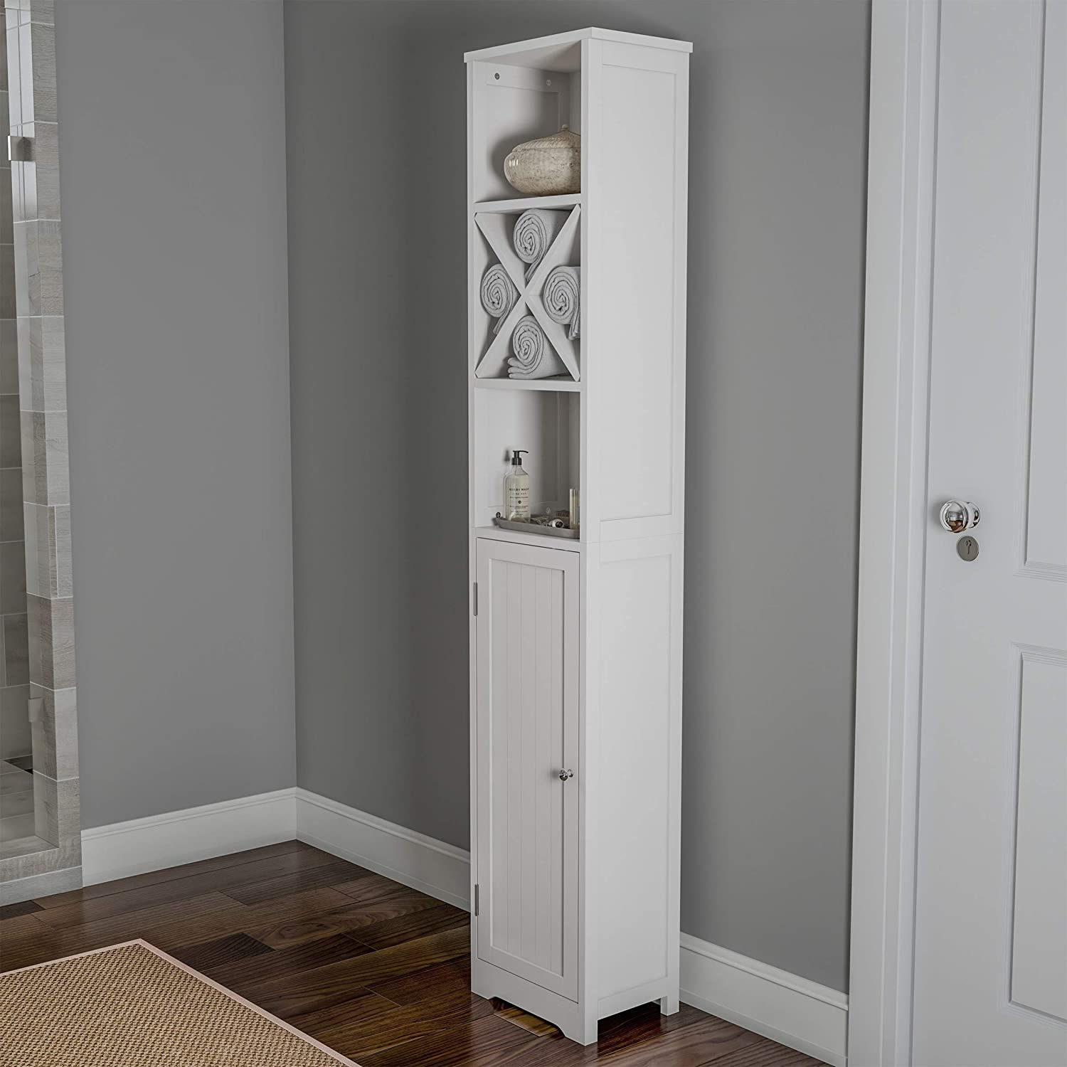 """Lavish Home Linen Tower-67"""" Tall Bathroom or Laundry Room Storage Cabinet with Cubbyhole Divider for Towels-Adjustable Shelves & Cupboard (White), 67"""