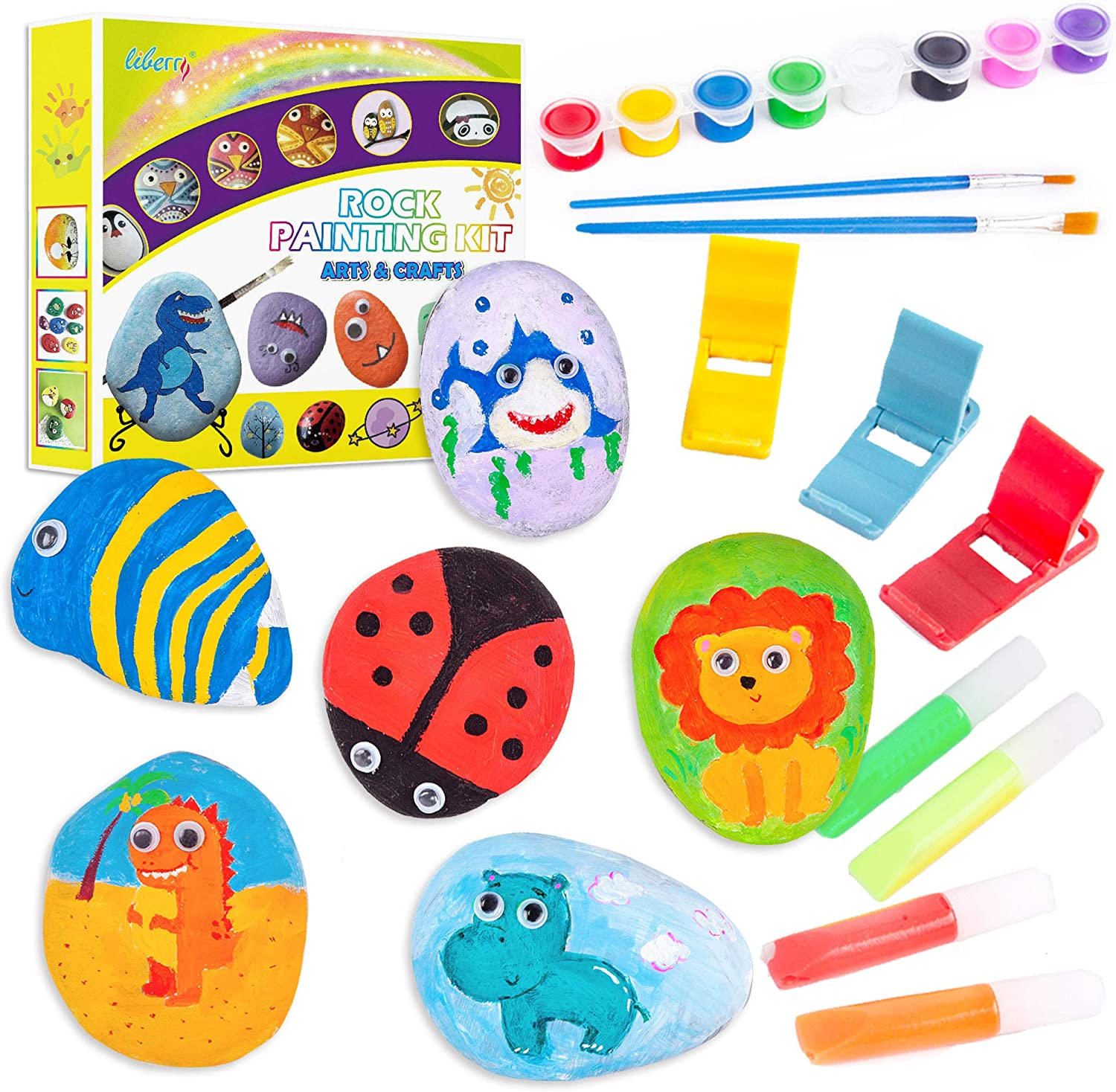 Basic Painting Rocks Set for Kids Arts and Crafts Kit for Girls /& Boys Ages 4-12 Rock Painting Kit