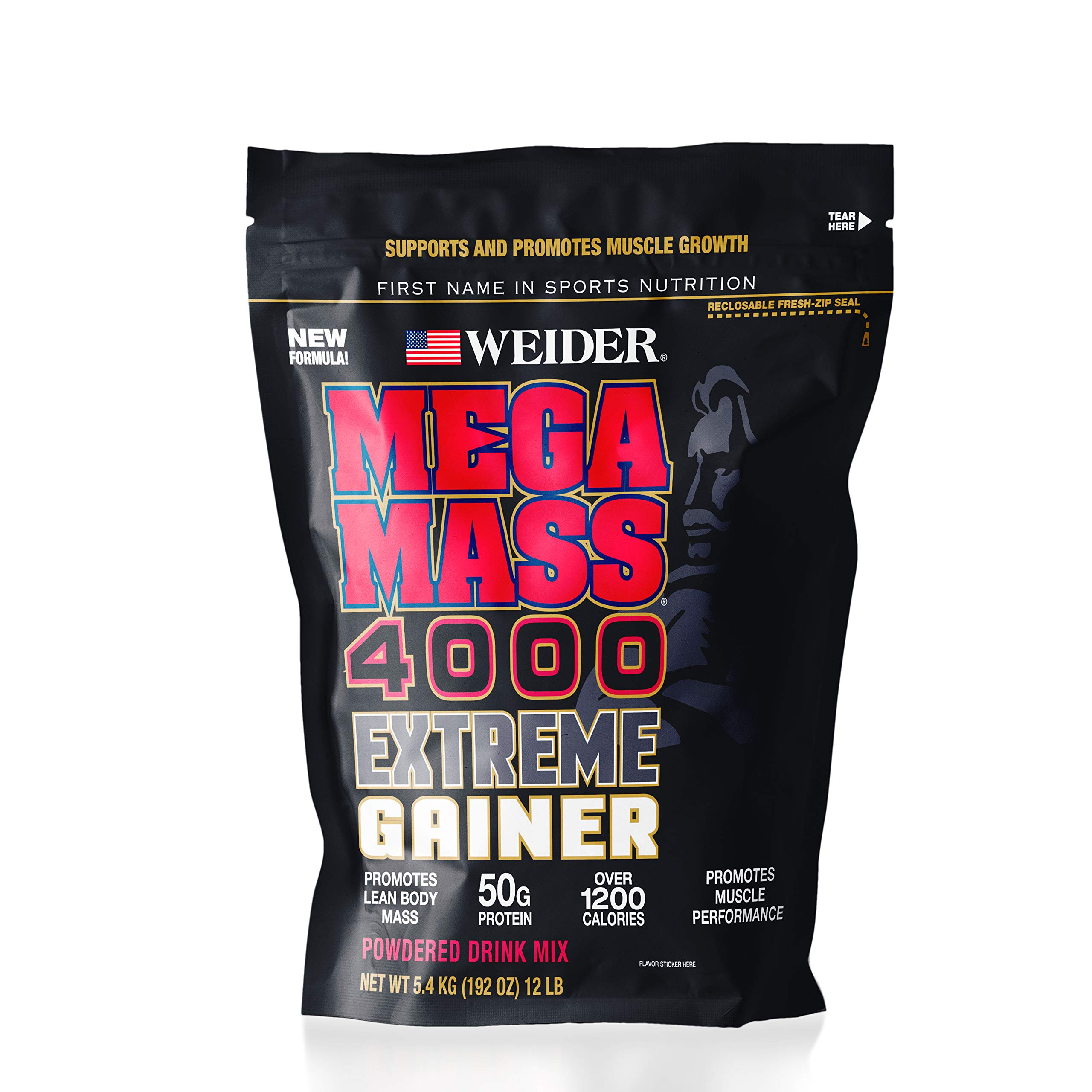 Weider Megamass 4000 Extreme Gainer - Our Best Selling Gainers - 50 Grams of Protein per Serving - Over 1,200 Calories - Over 250 Grams of Carbs by Weider (Image #1)