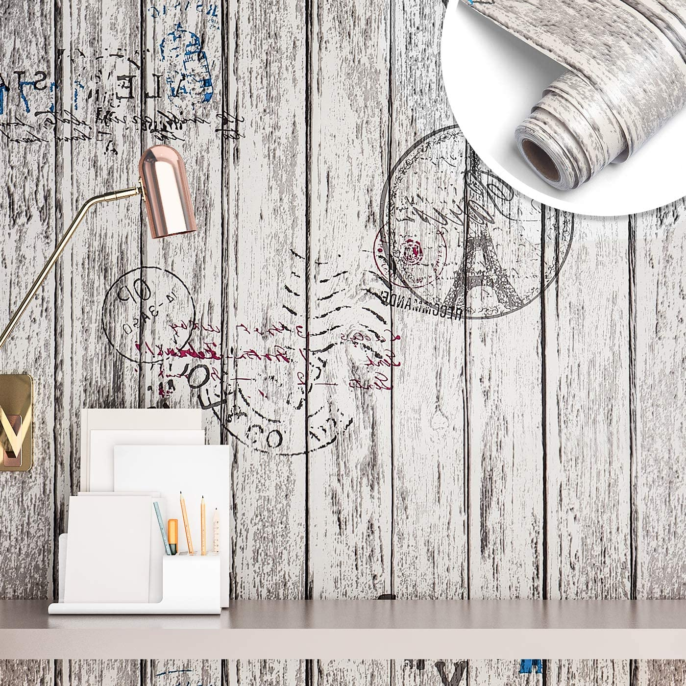 "Yenhome 24"" x 118"" Wood Grain Wallpaper Vinyl Wood Textured Wallpaper Self Adhesive Removable Distressed Wood Wall Coverings Peel and Stick Wallpaper for Shelf Liner Decorative Wood Plank Wall Paper"