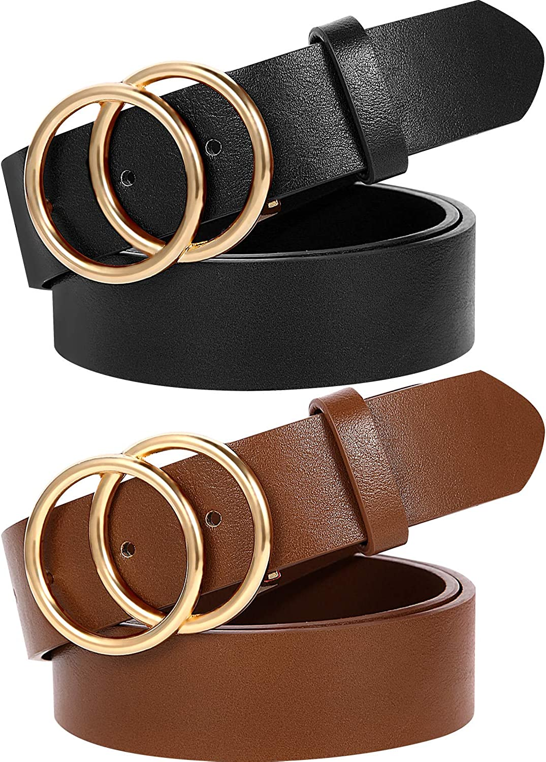 MORELESS 2 Pack Womens Faux Leather Belts for Jeans Belt with Double O-Ring Buckle