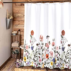 Riyidecor Floral Shower Curtain Flowers Spring Bloom Colorful Plants Girl Rustic Natural Bright Pink Country Scenery Polyester Fabric Home Bathtub Decor 72x72 Inch 12 Pack Plastic Hook Included